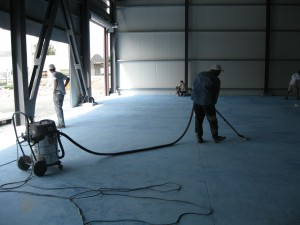 Vacuuming dust from epoxy floor