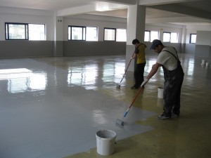 1st coat of epoxy floor coating