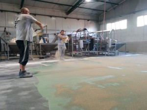 Broadcasting quartz sand on wet epoxy