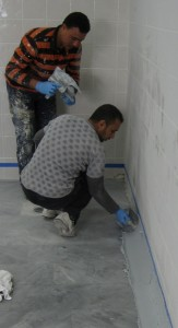 Coving with epoxy screed