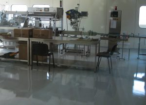 An epoxy floor in a packaging facility